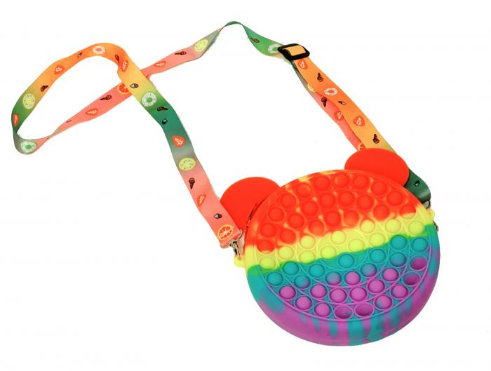 Jucărie senzorială geantă multicoloră POP IT cu baretă colorată model Mickey Mouse [0]