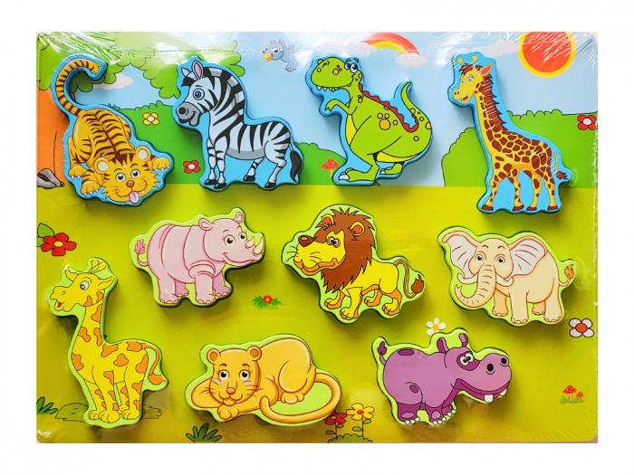 Puzzle 3D lemn animale din junglă [0]