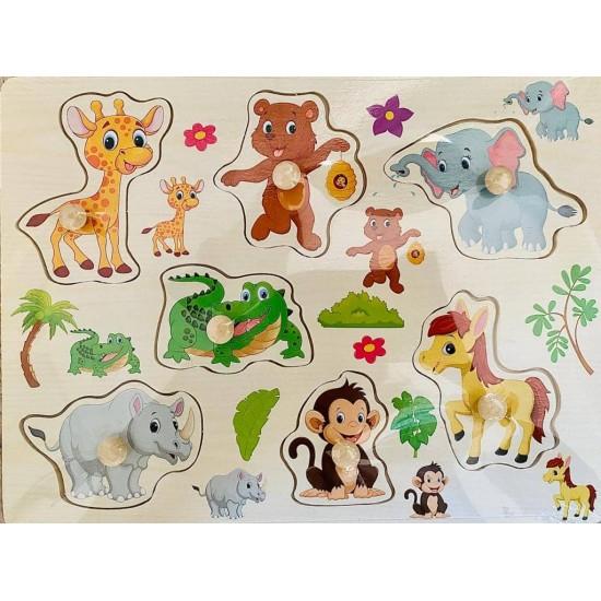 Puzzle incastru din lemn cu butoni - animale din junglă [0]