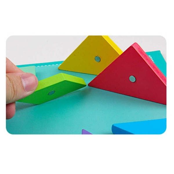 Puzzle magnetic TANGRAM din lemn [3]