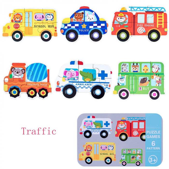 Set 6 puzzle in cutie metalică- mijloace de transport-TRAFFIC [0]