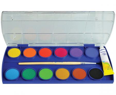Acuarele Pelikan, 12 culori cu alb de zinc şi pensulă [0]