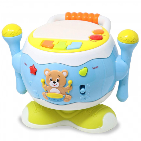 Jucărie interactivă cu microfon TOBĂ ROTATIVĂ culoare albastru [0]