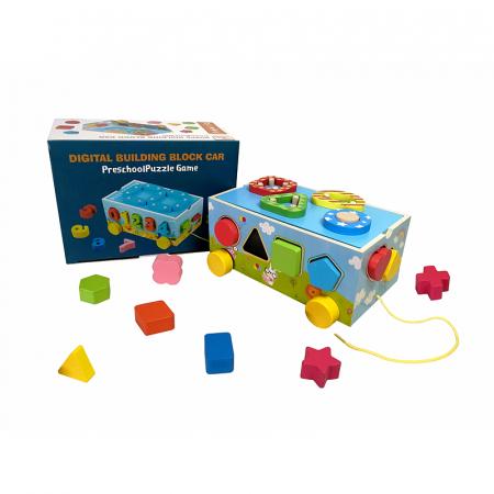 Jucărie din lemn pe roţi cu sortator de forme geometrice [0]