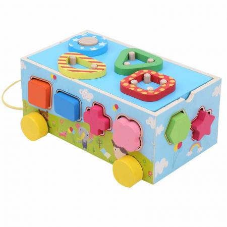 Jucărie din lemn pe roţi cu sortator de forme geometrice [1]