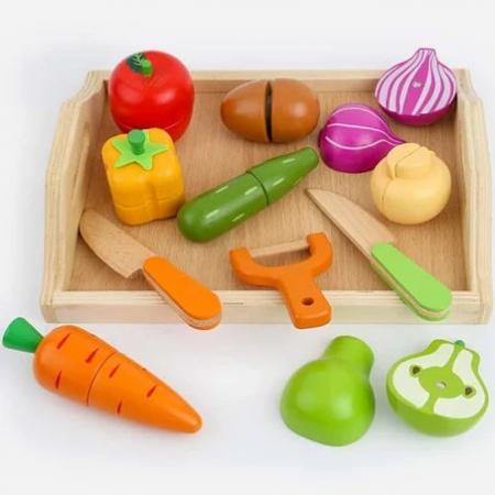 Set tăviţă fructe şi legume din lemn tip puzzle cu magnet, cu unelte pentru tăiat [0]