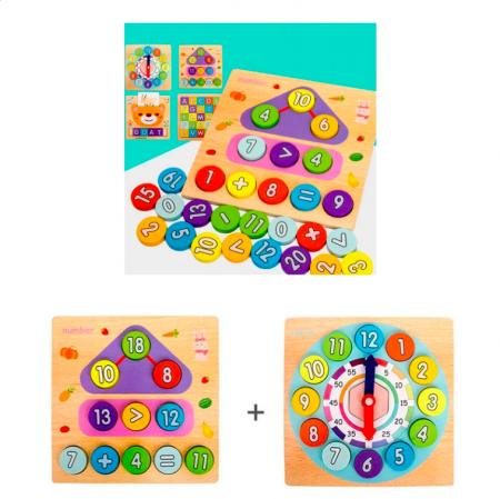 Joc din lemn 2 în 1 ceas și calcule matematice TWO IN ONE DIGITAL CLOCK [0]