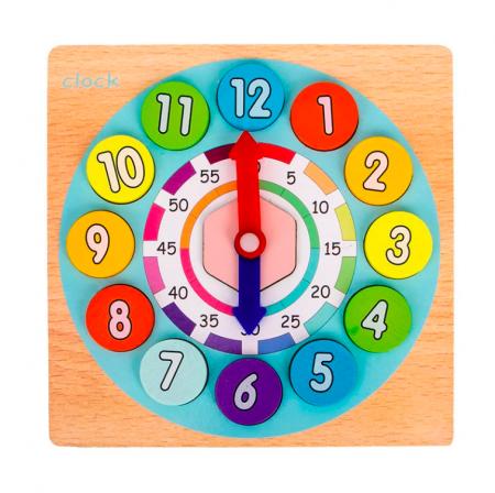Joc din lemn 2 în 1 ceas și calcule matematice TWO IN ONE DIGITAL CLOCK [1]