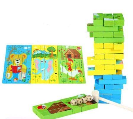 Joc din lemn 3 în 1 - Puzzle, turn instabil Jenga și Domino [1]