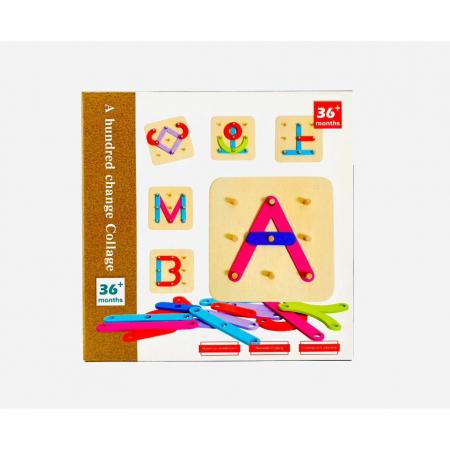 Joc educativ din lemn de construit litere, cifre, forme de tip Montessori - A hundred change collage [0]