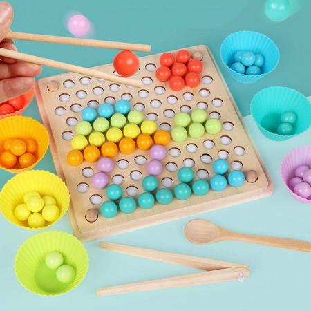 Jucărie din lemn de tip Montessori de îndemânare și asociere cu bile colorate BEAD HOLDER [3]