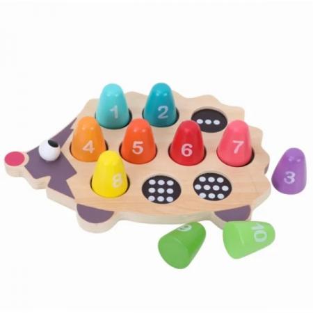 Joc din lemn de asociere Montessori - Ariciul cu cifre [1]