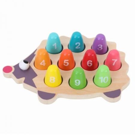 Joc din lemn de asociere Montessori - Ariciul cu cifre [0]