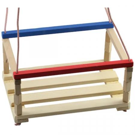 Leagăn din lemn pentru copii cu bare de protecție colorate [0]