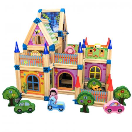 Set de construcție din lemn castel - Micul arhitect -128 piese- Master of Architecture Building Blocks toy [0]