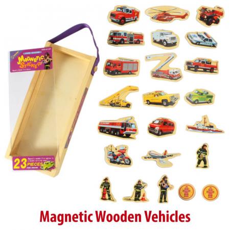 Set piese magnetice din lemn - vehicule de intervenție pompieri - în cutie din lemn cu mâner [2]