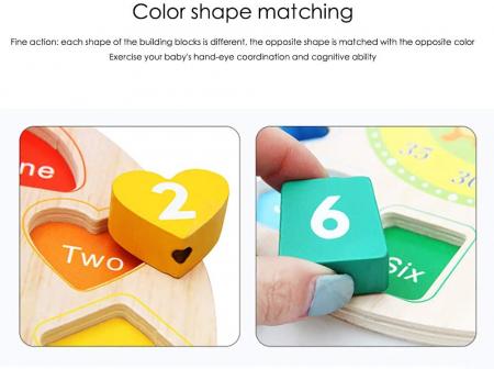 Ceas puzzle din lemn Montessori și jucărie de înșiruit. [1]