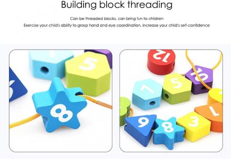Ceas puzzle din lemn Montessori și jucărie de înșiruit. [3]