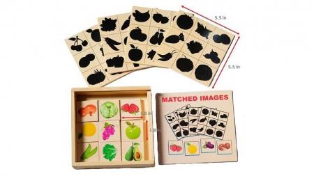 Jocul umbrelor - joc de asociere de tip Montessori din lemn- Fructe și legume [0]