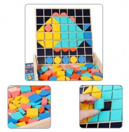 Set Mozaic 3 în 1 din lemn - Puzzle Mozaic tip Tangram, tablă de scris cu carioca lavabilă și joc de calcule matematice [1]
