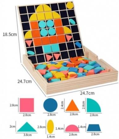 Set Mozaic 3 în 1 din lemn - Puzzle Mozaic tip Tangram, tablă de scris cu carioca lavabilă și joc de calcule matematice [7]