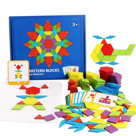 Joc tangram puzzle de tip Montessori din lemn - Pattern Blocks [0]