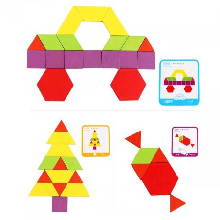 Joc tangram puzzle de tip Montessori din lemn - Pattern Blocks [4]