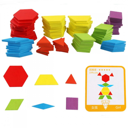Joc tangram puzzle de tip Montessori din lemn - Pattern Blocks [5]