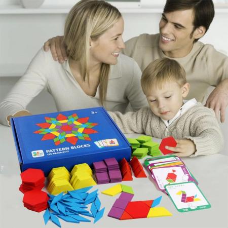 Joc tangram puzzle de tip Montessori din lemn - Pattern Blocks [2]