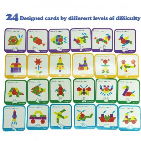 Joc tangram puzzle de tip Montessori din lemn - Pattern Blocks [7]