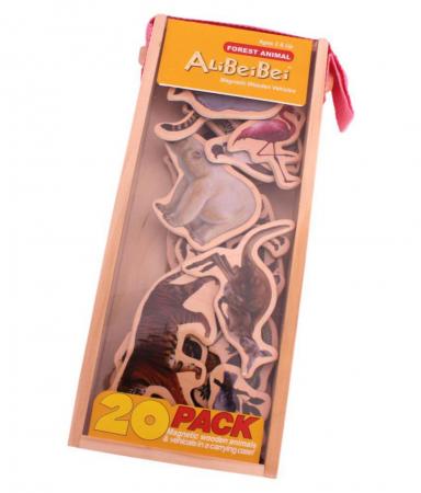 Set piese magnetice din lemn - Animalele pădurii - în cutie din lemn cu mâner [0]