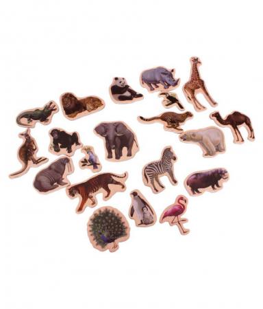 Set piese magnetice din lemn - Animalele pădurii - în cutie din lemn cu mâner [1]