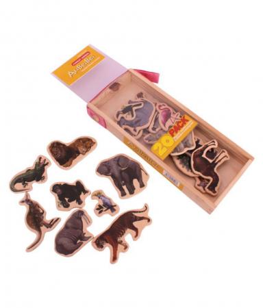 Set piese magnetice din lemn - Animalele pădurii - în cutie din lemn cu mâner [2]