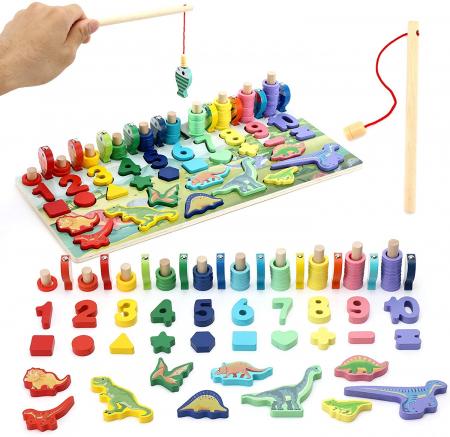 Jucărie multifuncțională din lemn PUZZLE 3D, JOC DE STIVUIT, JOC DE PESCUIT MAGNETIC - DINOZAURI [0]