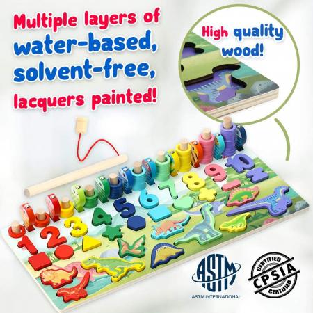 Jucărie multifuncțională din lemn PUZZLE 3D, JOC DE STIVUIT, JOC DE PESCUIT MAGNETIC - DINOZAURI [1]