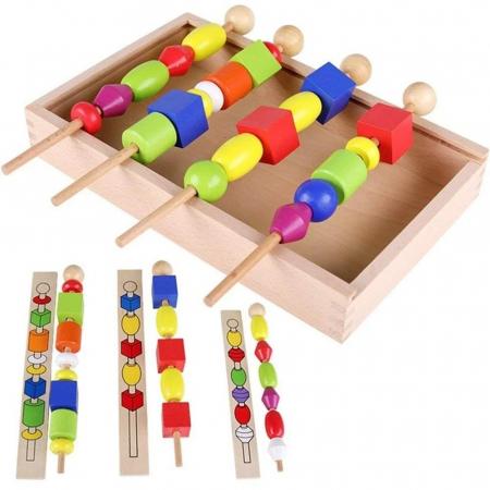 Joc Montessori din lemn de înșiruit mărgele pe băț - FRIGĂRUI- Beaded game box [1]