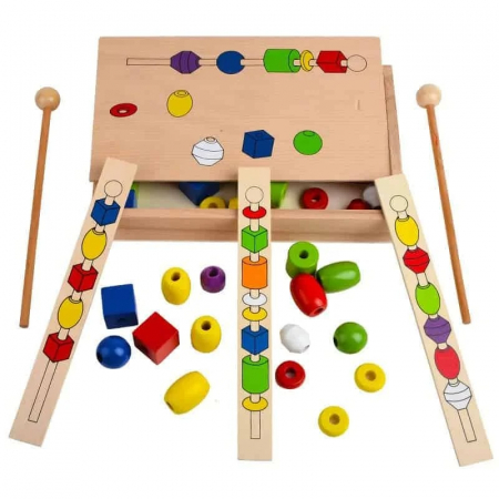 Joc Montessori din lemn de înșiruit mărgele pe băț - FRIGĂRUI- Beaded game box [2]