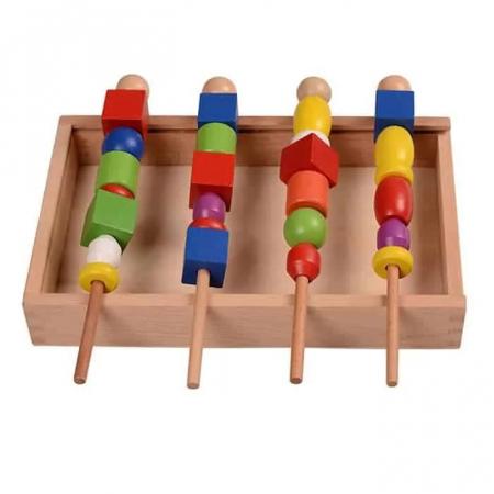 Joc Montessori din lemn de înșiruit mărgele pe băț - FRIGĂRUI- Beaded game box [4]