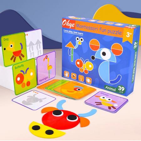 Puzzle Montessori distractiv de tip tangram ANIMALE - Montessori fun puzzle Animal [0]