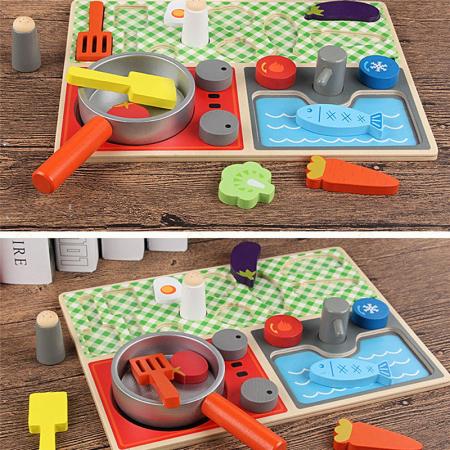 Set minibucătărie de jucărie din lemn tip puzzle Montessori KABI [1]