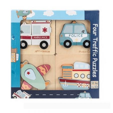 Set 4 puzzle din lemn în relief mijloace de transport TRAFFIC PUZZLES [0]