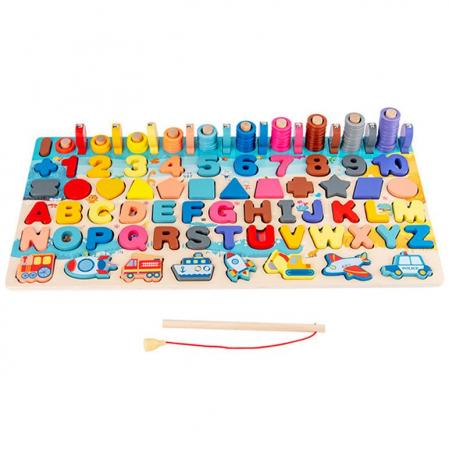 Jucărie multifuncțională 7 în 1 din lemn PUZZLE 3D, JOC DE STIVUIT, JOC DE PESCUIT MAGNETIC - MIJLOACE DE TRANSPORT [1]