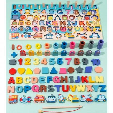 Jucărie multifuncțională 7 în 1 din lemn PUZZLE 3D, JOC DE STIVUIT, JOC DE PESCUIT MAGNETIC - MIJLOACE DE TRANSPORT [2]