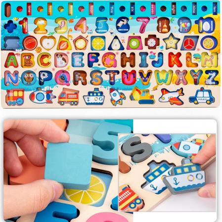 Jucărie multifuncțională 7 în 1 din lemn PUZZLE 3D, JOC DE STIVUIT, JOC DE PESCUIT MAGNETIC - MIJLOACE DE TRANSPORT [4]
