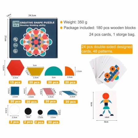 Joc tangram din lemn 180 piese - Creative shape puzzle [4]