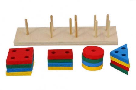 Joc de tip Montessori - Sortator cu 4 forme geometrice - Geometric Sorter [2]