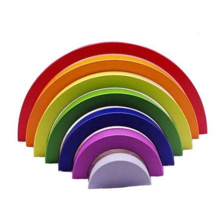 Jucărie Montessori din lemn CURCUBEU - Rainbow Building Blocks [0]