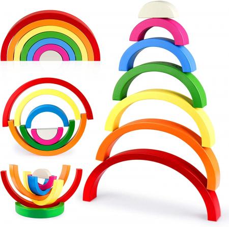 Jucărie Montessori din lemn CURCUBEU - Rainbow Building Blocks [3]
