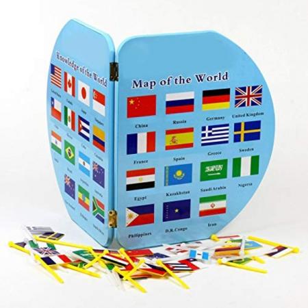 Harta lumii din lemn cu țări și steaguri [0]
