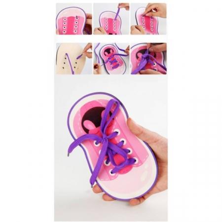 Joc de înşiruit din lemn- pantofi cu şireturi şi cămaşă cu nasturi [4]